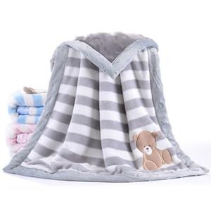 Siyubebe Baby Couverture Bebe Bebe Épaissir Swaddle Flanel enveloppe Poussette Dessin animé Couverture de bébé Nouveau-né Couvertures de literie 75 * 100 Y201009