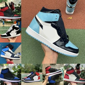 Новый Высокий 1 1 1 Баскетбольные Обувь Мужчины Мужчины Женщины Compred Toe Black Turbo Green Gree Gree Royal Unc Патент Корт Фиолетовый Разбитый Забанованный Твист Спортивная Обувь F9