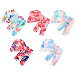 Baby Boy Girl Clothes Tie Dye Clothing Set Long Sleeve Romper Pants O-Neck 2pcs Fashion Infants Wear Winter Autumn Outfits