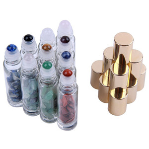 Natural Semiprecious Stones Essential Oil Gemstone Roller Ball Bottles Clear Glass Healing Crystal Chips 10ml Free DHL GWF2640