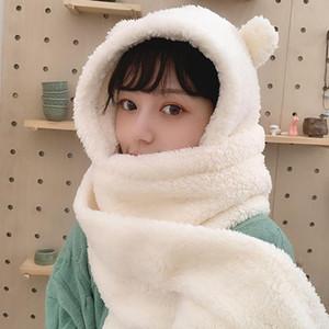 2020 Winter Women Novelty Caps Warm Cute Bear Ear Hat Casual Plush Hat Scarf Gloves Set Casual Solid Fleece Women Caps New