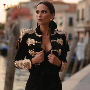 High-Quality Black Large Size Elegant Bandage Jacket Sexy Long-Sleeved Party Runway Bodycon Jacket Female 2020 Women Autumn New