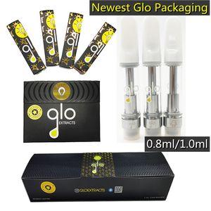 Glo Tape Cartridges Mils Carts Carts Glo Extracts 0,8 мл 1,0 мл масло Пирекс Стеклянный резервуар 510 Напыщенные керамические катушки керамические кончики новейшая упаковка