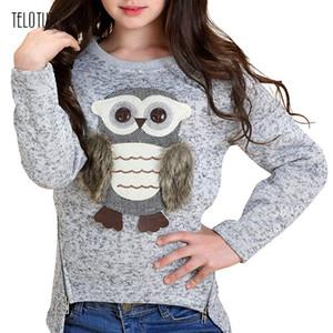 TELOTUNY Autumn Cute Baby Boys Girls Sweatshirt Kids Long Sleeve Cartoon Owl Printed Tops Hoodie Clothes Blouse Sweatshirts L916 201014