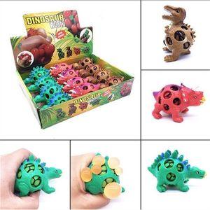Divertido dinosaurio blando Squeeze uva bola Vent bola del acoplamiento de descompresión de bolas de juguete para niños dinosaurio autismo Mood Squeeze bola de envío