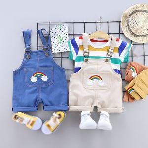 Summer Baby Boys Clothes Set 2pcs set Cartoon Toddler Baby Infant Girls Outfits T-shirt+Bib Pants Kids Tracksuit Clothing Sets 201116