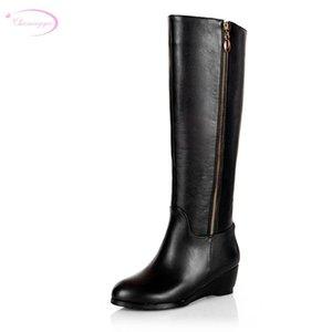 Chainingyee qualidade artesanal personalizado contratado sexy joelho de couro alto botas alta zíperes med com botas de equitação feminina