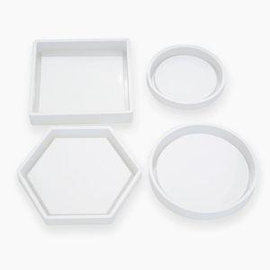 Moldes de silicona del molde de fundición Crystal Clear epoxi Resina de silicona líquida moldea DIY Tiesto té Base EWD2473 Coaster