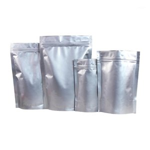 50pcs Aluminum Foil Bag Heat Seal Smell Proof Bags Resealable Package Self-standing Bag1