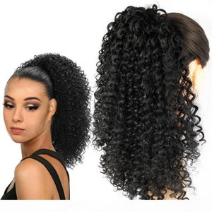 Kinky curly Ponytail Extension Drawstring Ponytail Extensions Long BLACK Color 140g Human Hair Magic Paste Ponytail Hair Piece for Women