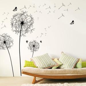 [Zooyoo] grande negro diente de león flor pegatinas de pared decoración del hogar sala de estar dormitorio muebles arte calcomanías mariposa murales 201130