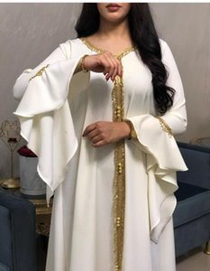 Muslim Abaya del merletto del ricamo Jalabiya Nastro d'Oro Abiti Hijab Bandage caduta Africa Dashiki Eid Ramadan Preghiera islamica turca