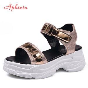 Aphixta 6cm Talons Platform Sandals Women Compensées Talons Chaussures Femme pailletée tissu Crochet Boucle Zapatos Mujer Chaussons Femme Sandal