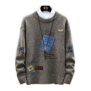 Los hombres del O-cuello jersey otoño invierno Imprimir caliente Amplio suave largo de la manga Oc Yq Ropa de punto Casual Male suéter envío de la gota