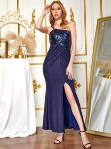 ANGEL FASHIONS One Shoulder Sequin Splicing Slit Pleated Evening Dress Long 501