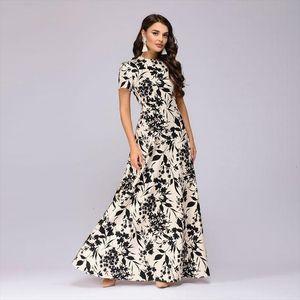 Women Summer Long Dress Short Sleeve Floral Print Boho Dress Elegant Party Slim Sundress Vestido De Festa