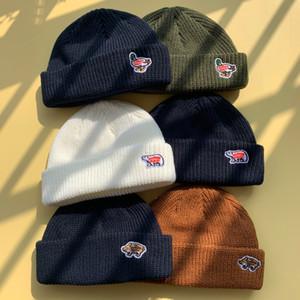İnsan Yapımı Kutup Ayısı Kasketleri Örme İzle Şapka Erkekler Kadınlar Için Sıcak Kış Şapkalar Akrilik Kayak Kafatası Kap Hip Hop Rahat Skullies Açık