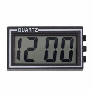 أسود بلاستيك صغير الحجم الرقمية lcd الجدول سيارة dashboard مكتب التاريخ الوقت التقويم ساعة صغيرة مع وظيفة التقويم 1