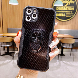 Carbon Fiber Finger Ring Holder Phone Cases For iPhone 12mini 12 11 Pro Max Xs Xr Xs Max 7 8Plus Samsung Note20 S20