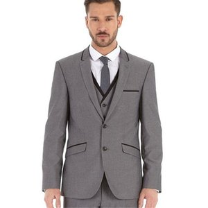 Customized New Smoking Gray Slim Fit Men's Suit Groom Tuxedo Lapel Men's Suit Wedding Dress 3 Pieces