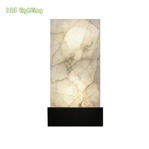 Lampada da parete Rettangolo Luce marmo naturale Nordico LED Soggiorno Lampade Gold / Nero Metal 90-260V Hall Aisle Luminaire Loft Sconce1