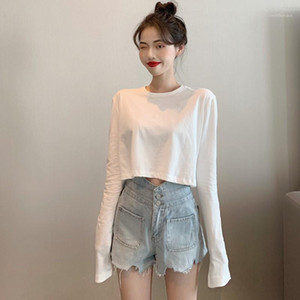 Sexy White Long Sleeve T-shirts Autumn Casual O-Neck Bottoming T-shirt Female Cropped Tshirt Top for Women Clothing 20201