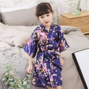 2020 Spring Summer Children Satin Robes Kimono Bath Robe Kids Flower Print Girl Silk Bathrobe Kids V-neck Lace-up Nightgown safs