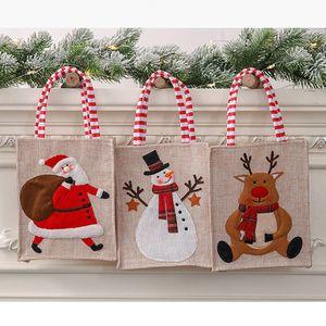 Navidad de la lona en tres dimensiones de asas bordada de lino bolsa reutilizable del bolso de compras de almacenamiento de caramelo regalo del niño decoraciones de Navidad