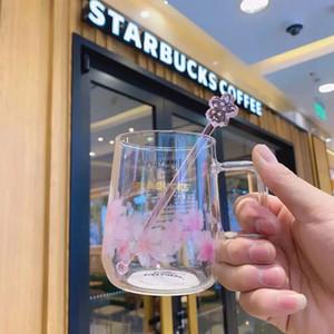 300ml Starbucks Laser Cherry Blossom Glass Rose Pétale Casse à café Coupe d'eau Capacité de grande capacité Produit cadeau