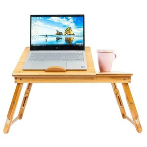 Portable Bamboo Laptop Desk Table Folding Breakfast Bed Serving Tray w  Drawer