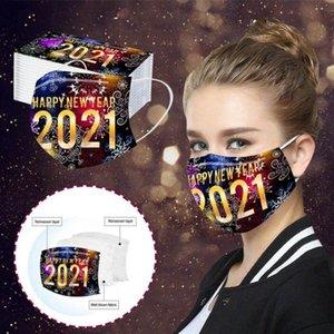 Happy New Year Маски для лица 3 Layered Одноразовые маски для взрослых печати Mouth Обложка пыле дышащий Защитная маска одноразовая маска HWC3681