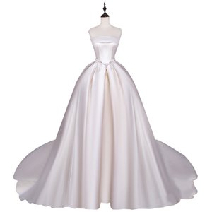 High Quality Satin Simple Wedding Dresses Ball Gown with Bows robe de mariee with Court Train Wedding Gowns Bride Dress