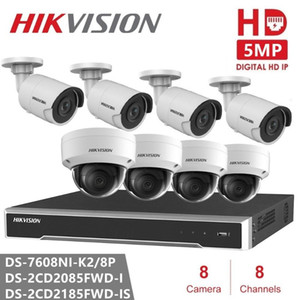 Wireless Camera Kits Hikvision Video Surveillance Embedded Plug & Play NVR H.265 2SATA 8POE + DS-2CD2085FWD-I 8MP IR Fixed Network IP