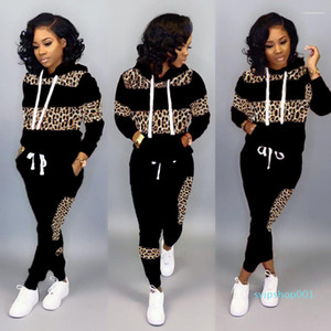Long Sleeve Female Clothing 2020 Womens Tracksuits Leopard Print Panelled Hooded Woman 2 Piece Outfits
