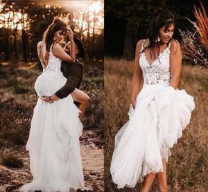 Boho Split Wedding Dresses Tiered Tulle Skirt Spaghetti Straps Lace Plus Size Country Wedding Bridal Gowns Vestido de novia L161