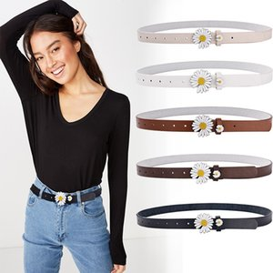 Small Daisy Pu Fine Belt Women Waistband Korean -style Student Flower Buckle Personality Smooth Buckle Faux Leather