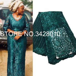 Green 2020 High Quality Nigerian Tulle Lace Fabrics Latest Beaded Mesh African Lace Fabric Bride French Net Fabric M3165