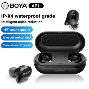 Boya By-AP1 Bluetooth Наушники Wireless Mini Earbuds с микрофоном 6H Cycle IN-EAL TRUE STEREO TWS Headset Shall Отмена Водонепроницаемый1
