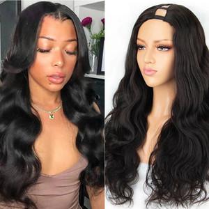 T Parte pelucas brasileña onda del cuerpo peluca hecha a máquina en forma de U de la peluca 150% Densidad del pelo humano del pelucas para mujeres Negro