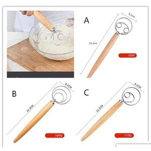Batedor de ovos de aço inoxidável 13 polegadas DIY pão de pão ferramentas de cozimento acessórios dinamarquesa massa whisk pau cozinha gadgets carvalho madeira punho tjh3l
