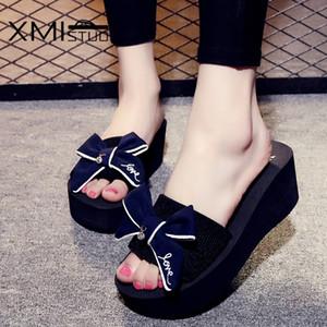 Xmistuo Yaz kadın Takozlar Sandalet Terlik Yay Slaytlar ile 7.2 cm Yüksek Topuklu Plaj Kadın Terlik 4 Renk 7140 W X1020