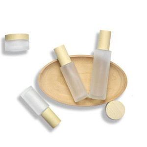 60ml 100ml 20ml 30ml 40ml 80ml 50ml Frost Cream Jar with Wooden Lids Cap Frosted Glass Lotion Spray Bottle Cosmetic Container Epacket