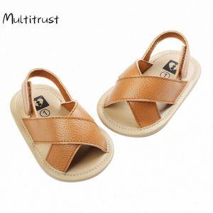 Multitrust Bebek Boys Roman Sandalet Çapraz Hollow Out Yumuşak Sole Yaz Plaj Ayakkabı İlk Yürüyenler Lmvr #