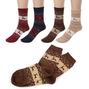 El otoño y el invierno de Navidad rayada de compresión calcetines de lana caliente calcetines gruesos Shaped Deportes femeninos calcetines de la Navidad de la vendimia