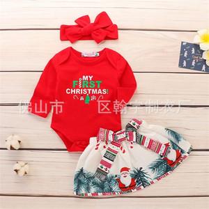 Üç Adet Set Bebek Giyim Uzun Kollu Çocuk Tek Parça Konfeksiyon Noel Baba Babys Kısa Etek Şapkalar Noel 21 5HY K2