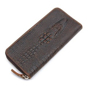 European And American Trend Crocodile Grain Leather Men's Personalized Embossed Cowhide Clip Card Holder Business Long Wallet