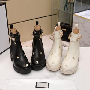 British Style Retro Mesdames Couleur Noir et Blanc Courreuse à lacets à semelles épaisses Courte Tube à mi-tuttine sauvage Couture Cuir dessert Martin Bottes
