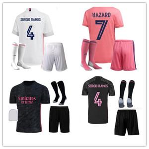 20 21 Erwachsene + Kids Kits Fussball Jersey 2019 2020 2021 Srergio Ramos Gefahr MODRIC Kroos Asensio Vinicius Männer Fußball Kit Uniforms Größe S-2XL