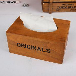 Wooden Tissue Paper Storage Box Wood Napkin Box Holder for Home Toilet Car Restaurant Decoration Storage Boxes & Bins Supplies