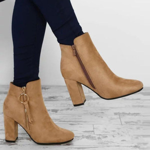 Ankle boots for women autumn winter high heels sexy ladies shoes round toe zipper vintage boots botines mujer big size